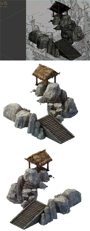 Game Model - prairie scene - stairs huts 01 - 3DOcean Item for Sale