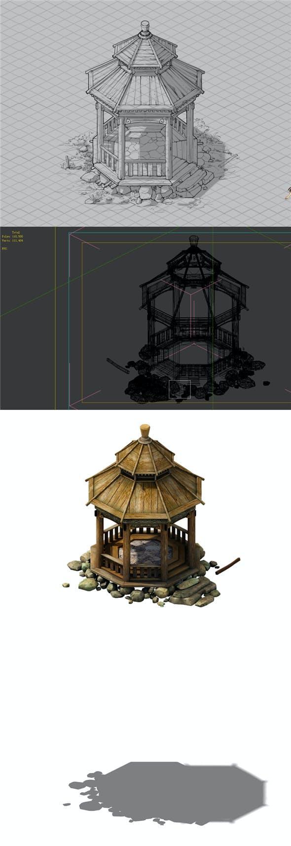 Game Model - prairie scene - wooden gazebo 01 - 3DOcean Item for Sale