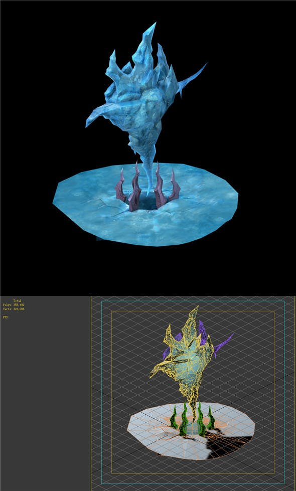 Game Model - snow - ice dragon column 01 - 3DOcean Item for Sale