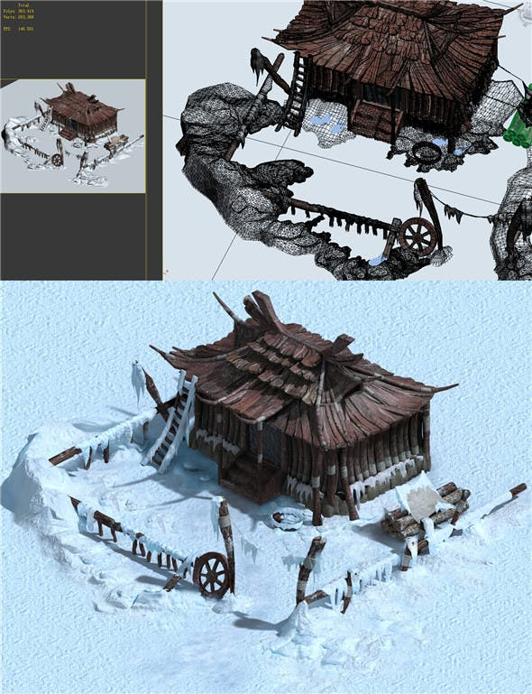 Game model - Snow - sparsely populated residential 01 - 3DOcean Item for Sale