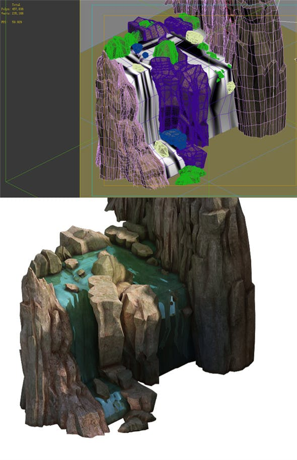 Game Model - Taoist comprehension scene - stone waterfall 01 - 3DOcean Item for Sale