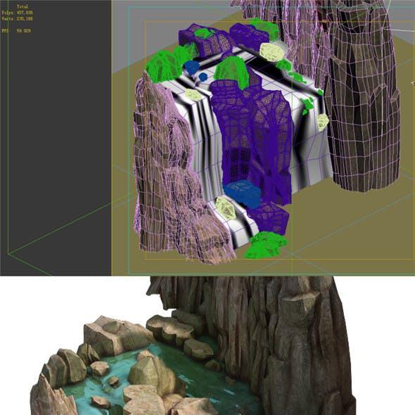 Game Model - Taoist comprehension scene - stone waterfall 01