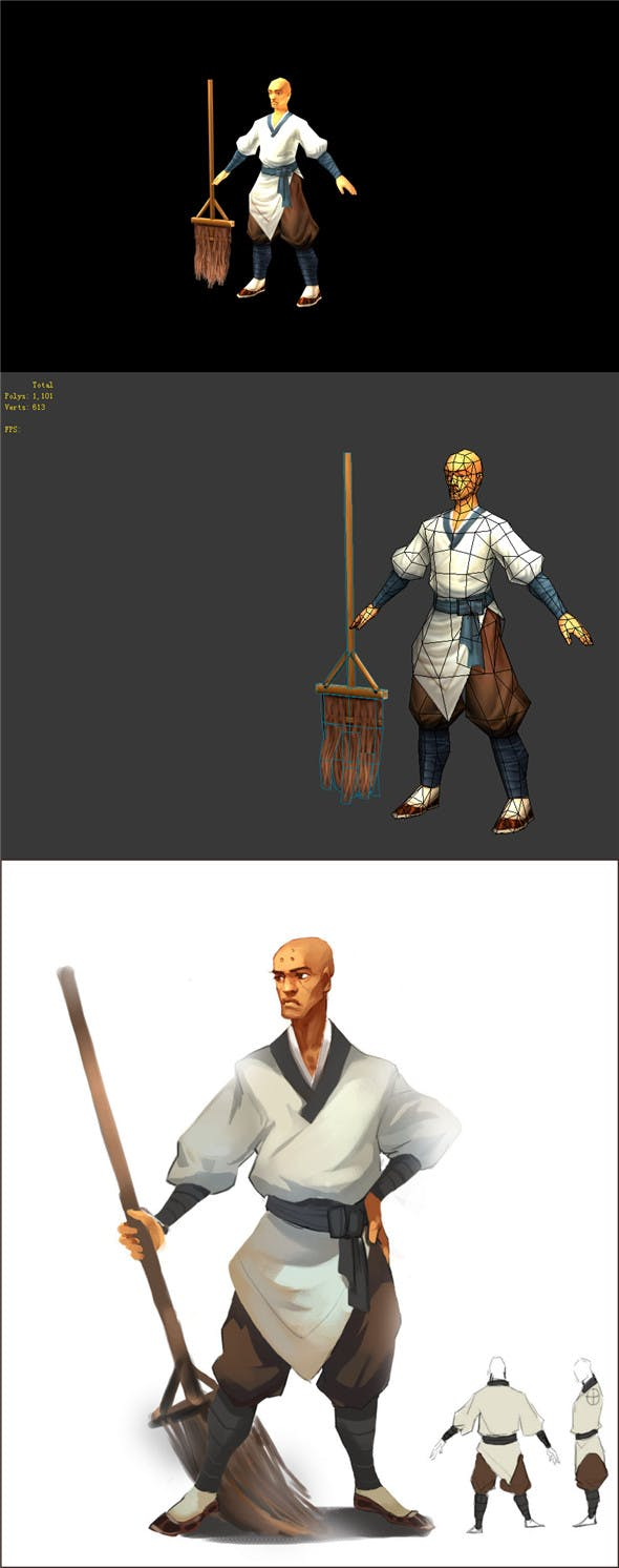 Game Model - Taoist comprehension scene - sweeping monk 01 - 3DOcean Item for Sale