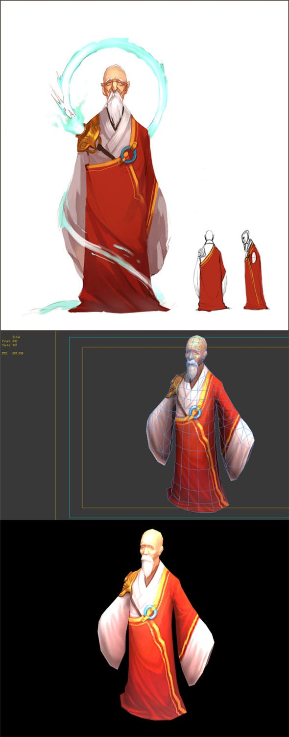 Game Model - Taoist comprehension scene - the highest standing monk 01 - 3DOcean Item for Sale