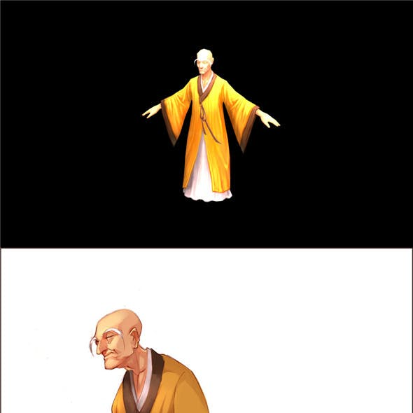 Game Model - Taoist comprehension scene - the monk 01
