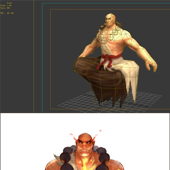 Game Model - Taoist comprehension scene - the practice of Monk 01