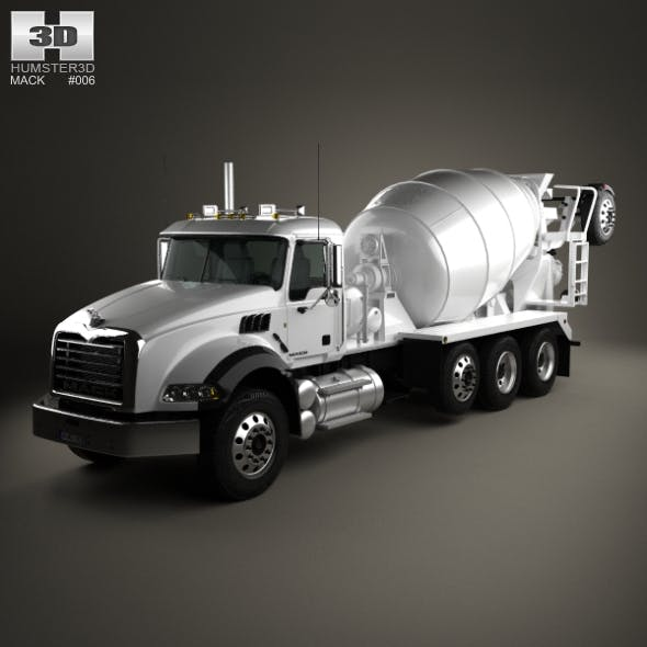 Mack Granite Mixer Truck 2002 - 3DOcean Item for Sale