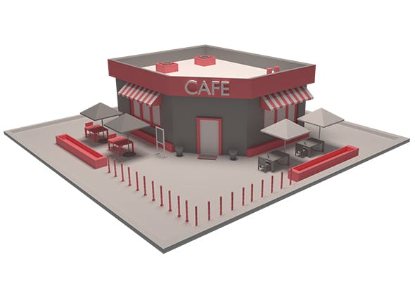 Low Poly Cafe Model - 3DOcean Item for Sale