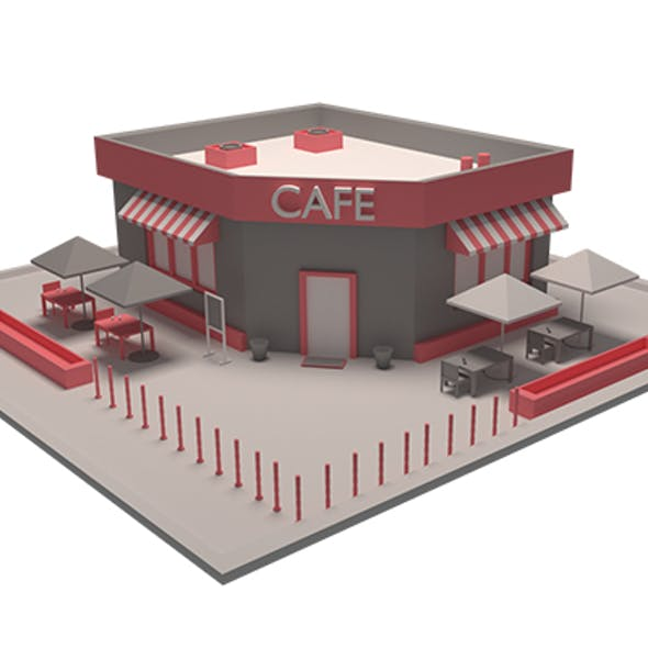 Low Poly Cafe Model
