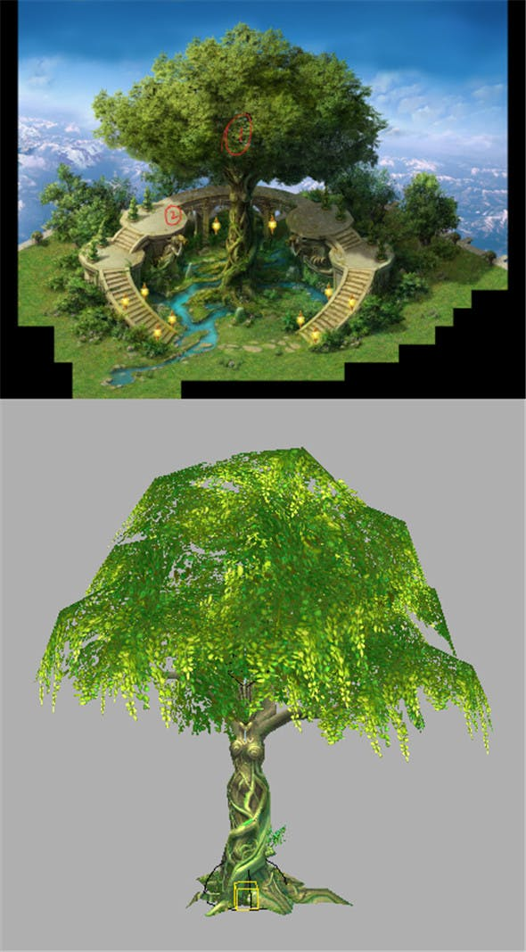 Game Model Arena - Golden Apple Tree 01 - 3DOcean Item for Sale