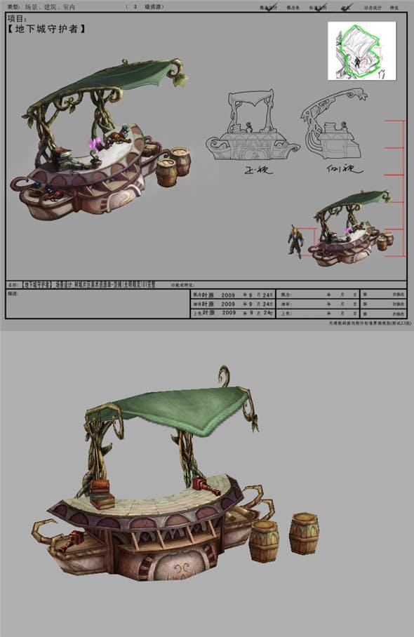 Game Model Arena - stalls  light elves  01 - 3DOcean Item for Sale