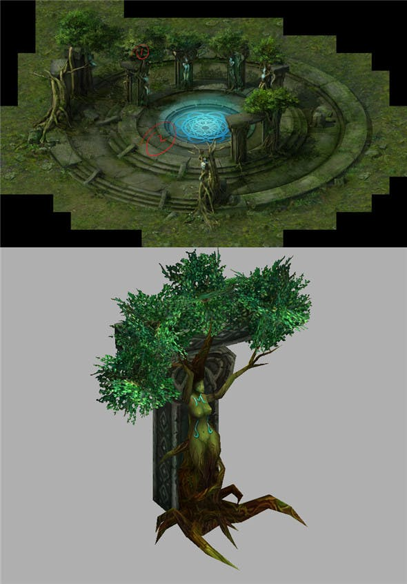 Game Model Arena - swamp rock trees Colossus 01 - 3DOcean Item for Sale
