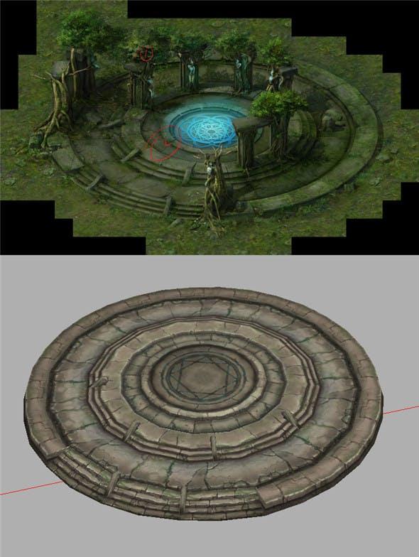 Game Model Arena - Swamp Stonehenge base 01 - 3DOcean Item for Sale