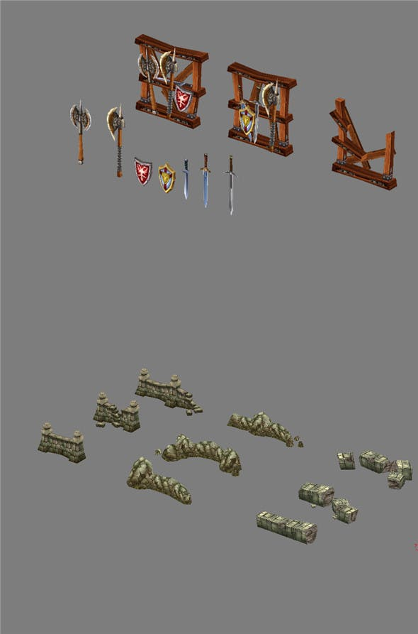 Game Model Arena - Weapon Rack and stone parapet 01 - 3DOcean Item for Sale