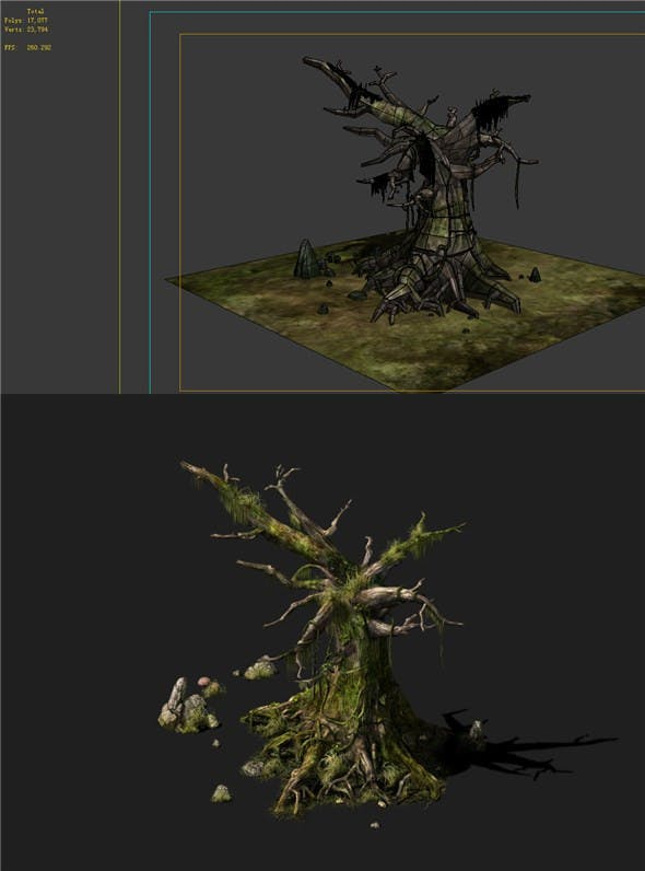 Game Models - poison Valley scene - dead tree covered with thorns moss decay 01 - 3DOcean Item for Sale