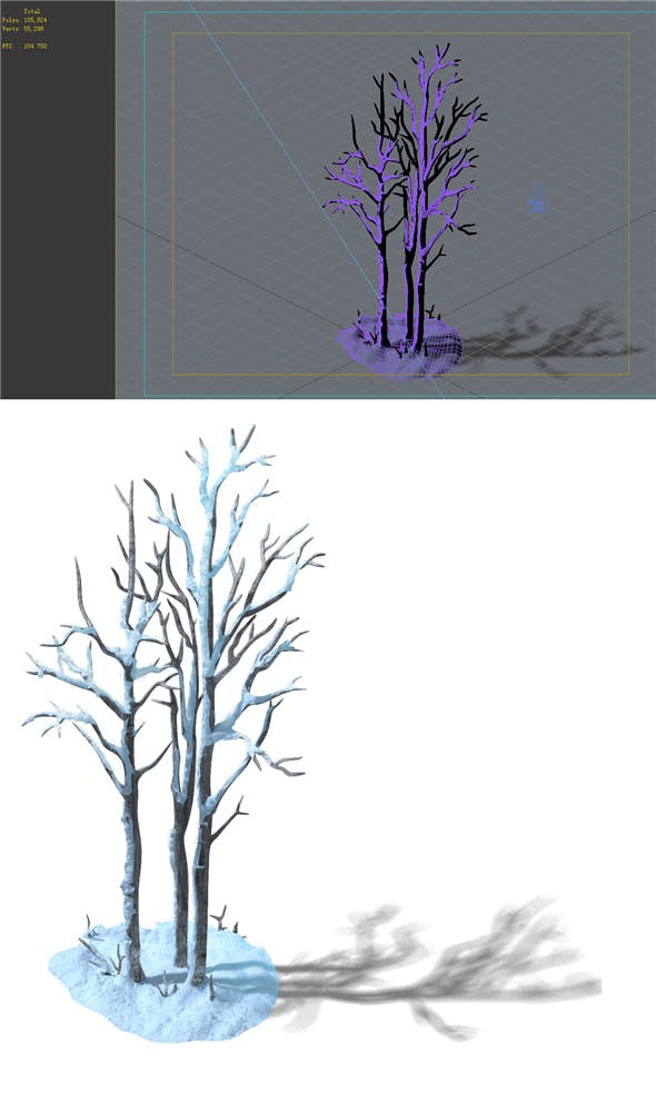 The game model of snow - white birch forest 01 - 3DOcean Item for Sale