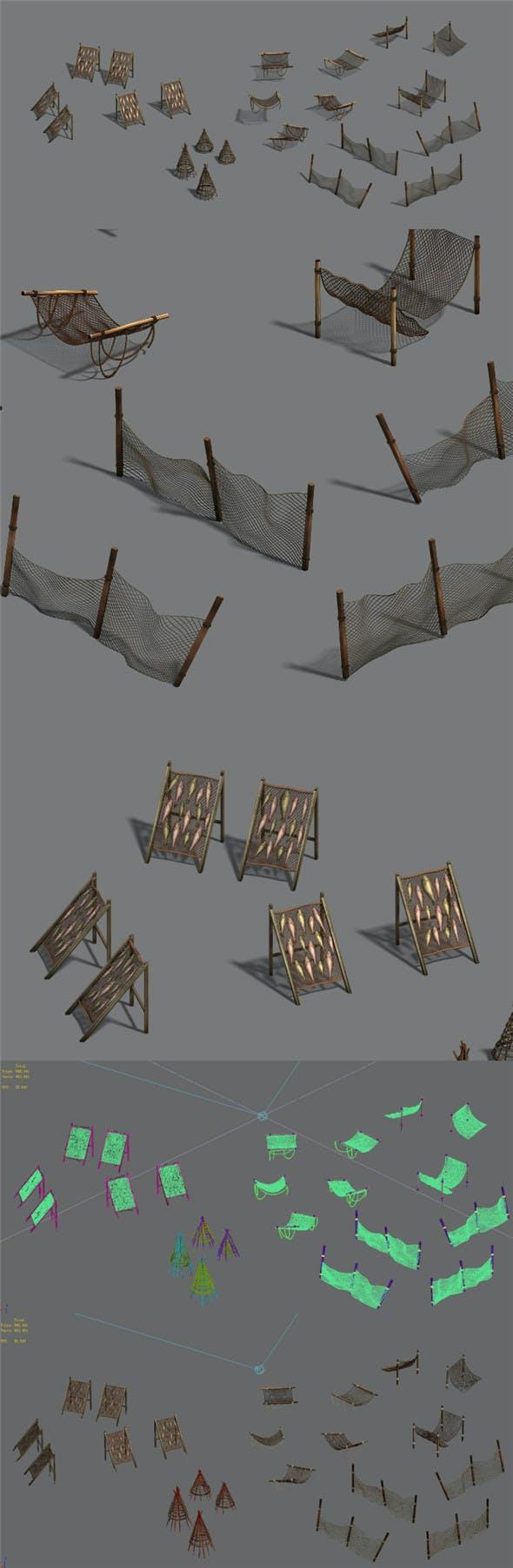 Seaside fishing - fishing net - dead fish - 3DOcean Item for Sale