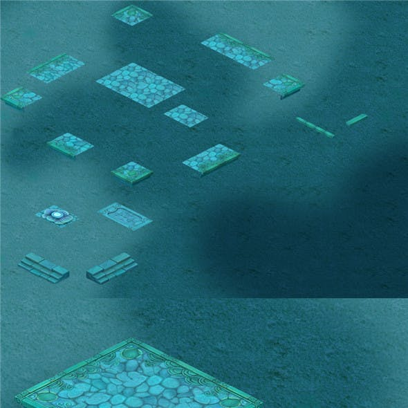 Submarine Cartoon World - Seabed Square Surface