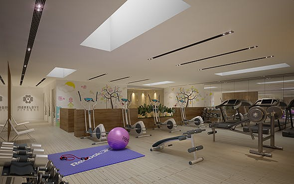 Gym Fitness interior design with Kids Area (Render Ready) - 3DOcean Item for Sale