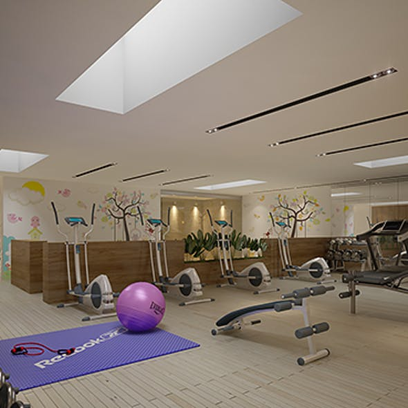 Gym Fitness interior design with Kids Area (Render Ready)