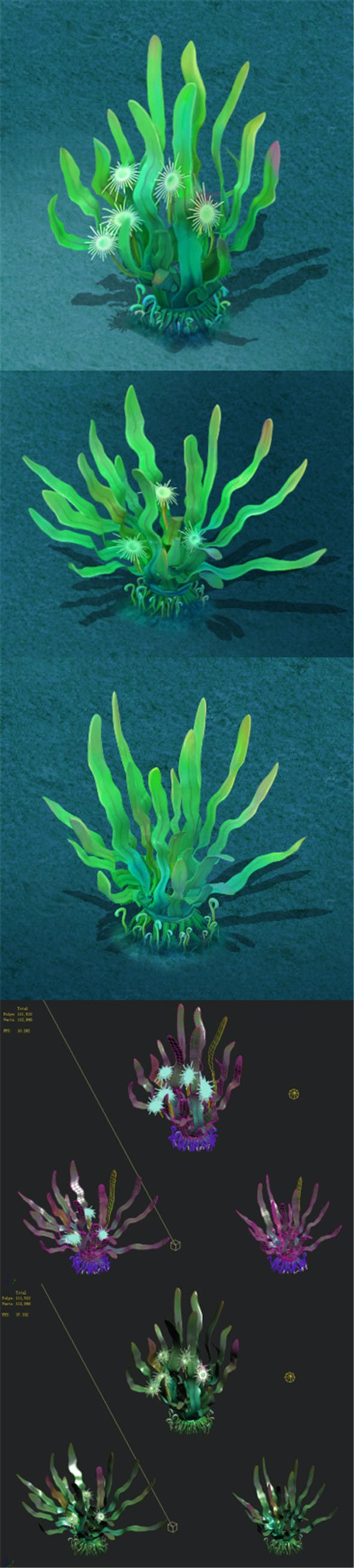 Submarine cartoon world - lonely Yu seaweed - 3DOcean Item for Sale
