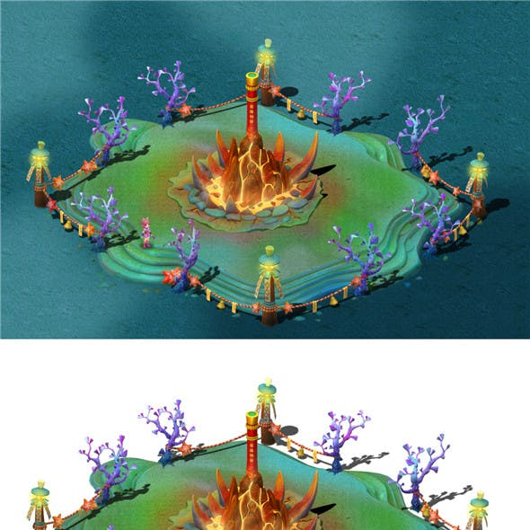 Submarine cartoon world - gold hoop bar god tower and coral table