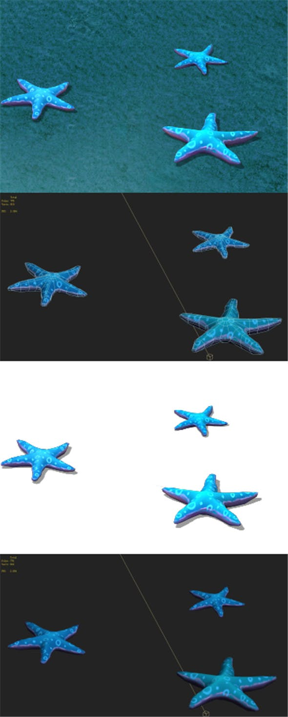 Submarine cartoon world - blue five - pointed star - 3DOcean Item for Sale