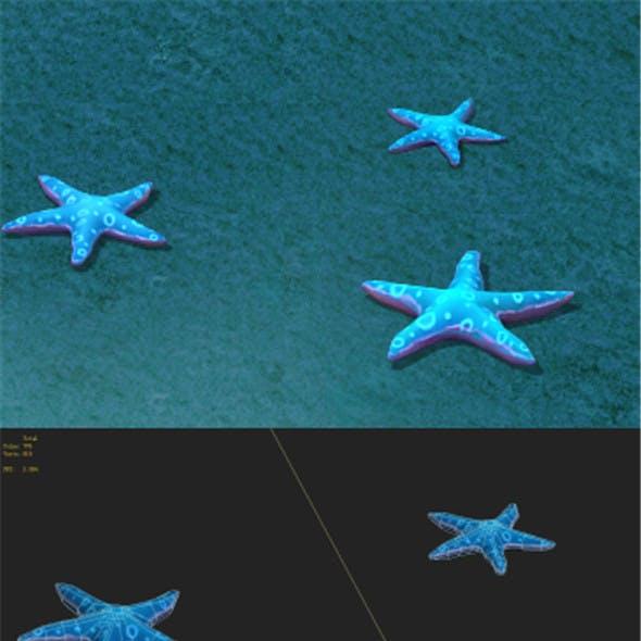 Submarine cartoon world - blue five - pointed star
