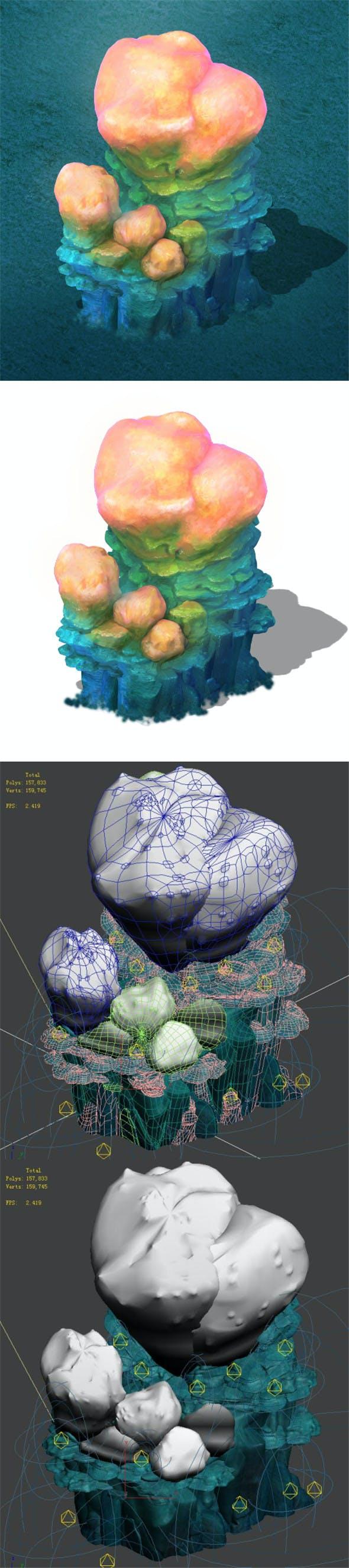 Submarine Cartoon World - Sarcoma Coral 01 - 3DOcean Item for Sale