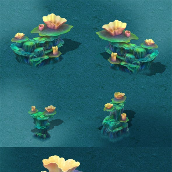 Submarine cartoon world - coral lotus leaf