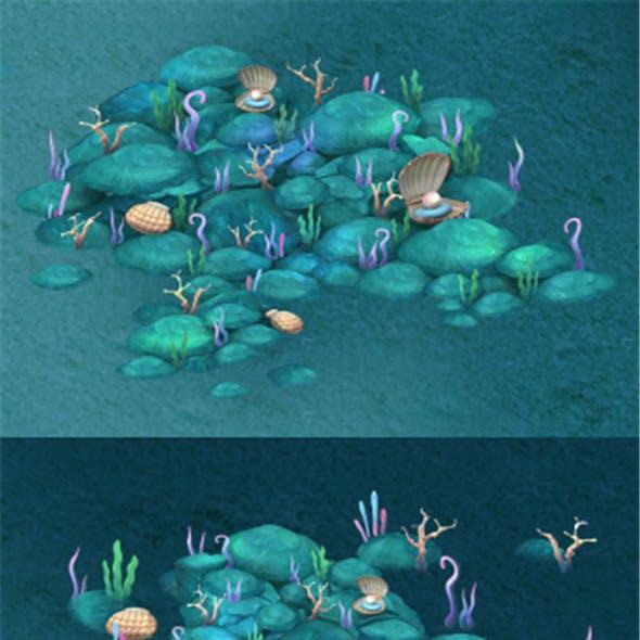 Submarine cartoon world - Coral bacteria heap