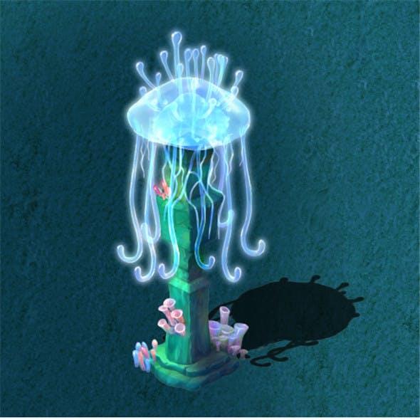 Submarine cartoon world - jellyfish pillar lights