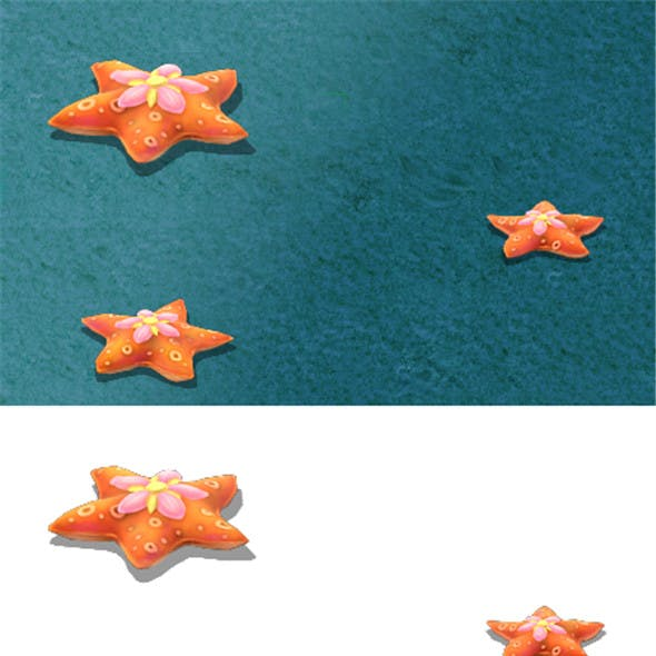 Submarine cartoon world - love five-pointed star