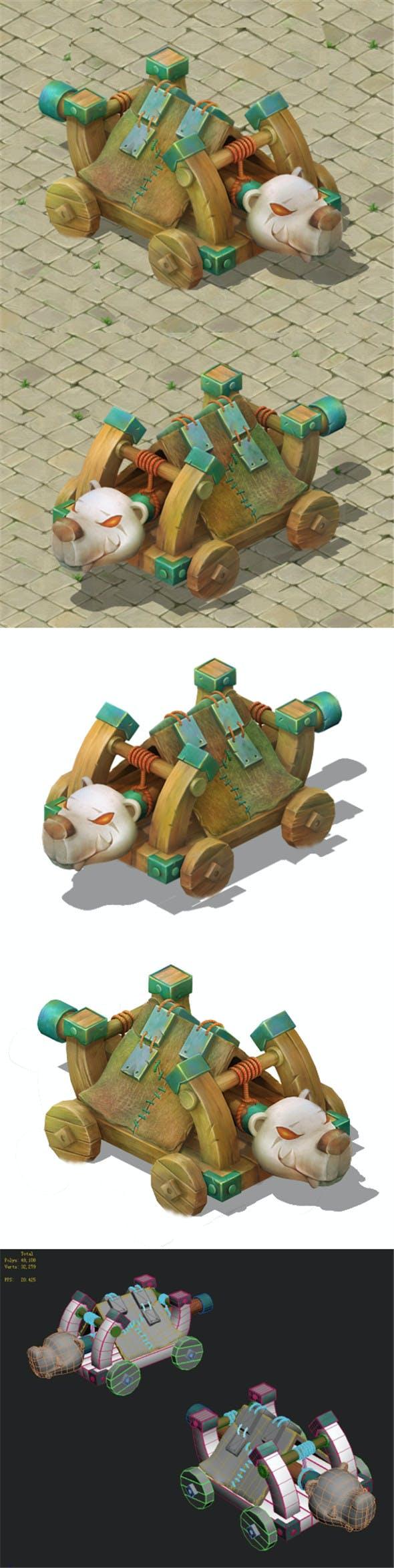 Cartoon version - Polar bear siege car - 3DOcean Item for Sale