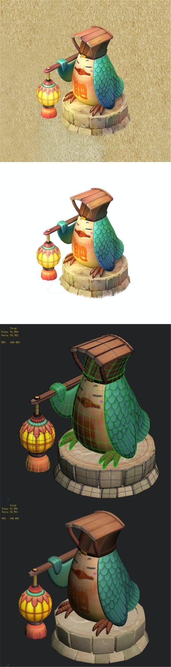 Cartoon version - fat bird light - 3DOcean Item for Sale