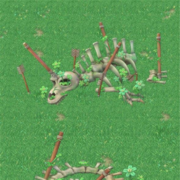 Cartoon version - ancient dragon fossils