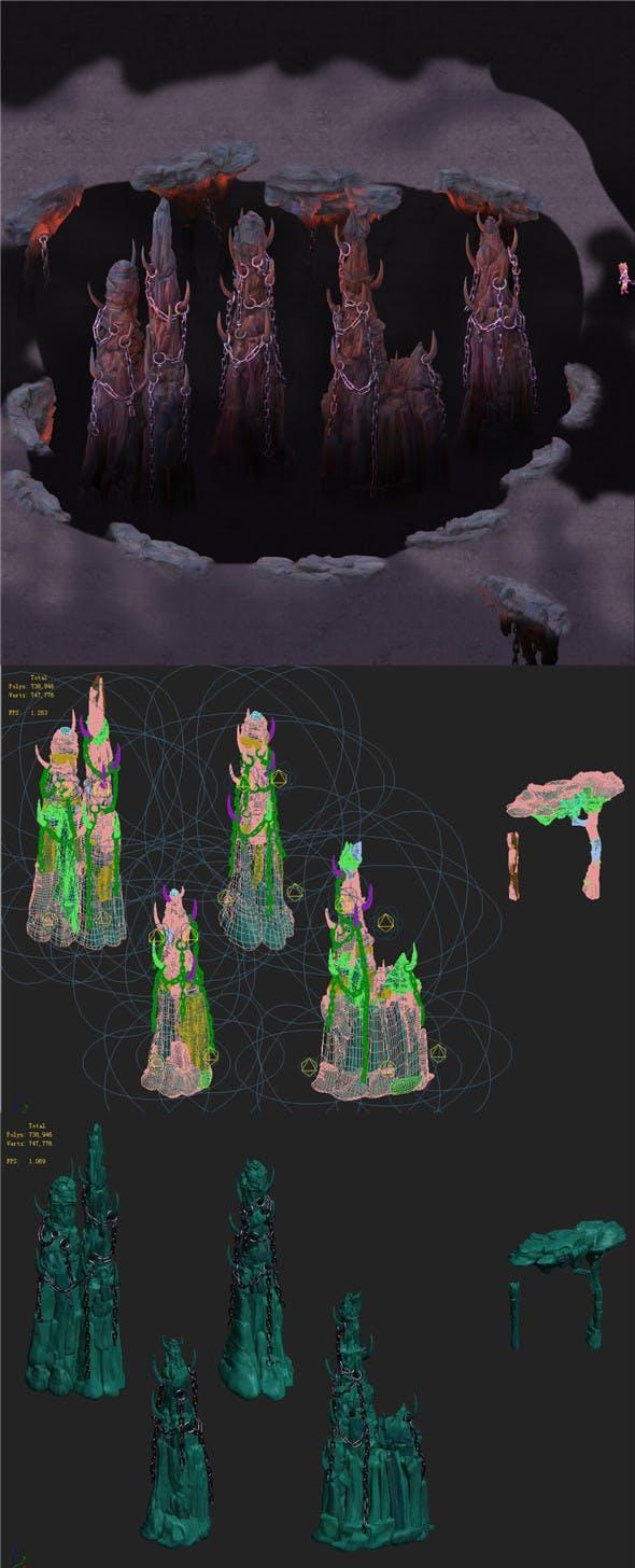 Cartoon hell - wail abyss - pillars - 3DOcean Item for Sale