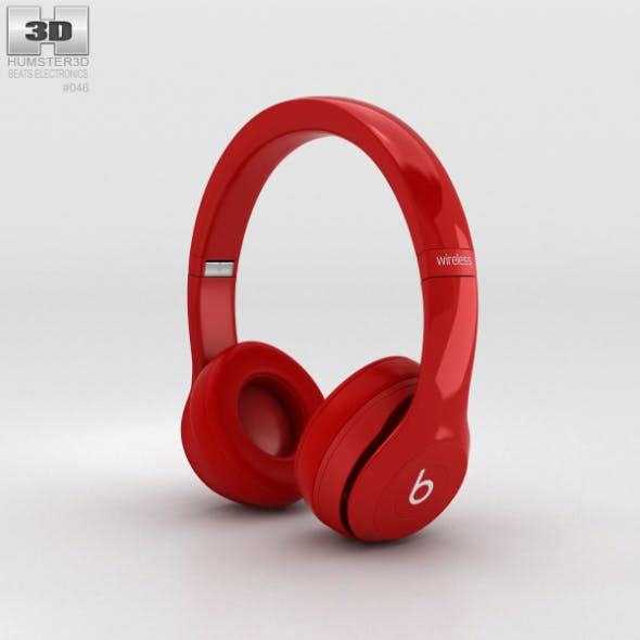 Beats by Dr. Dre Solo2 Wireless Headphones Red - 3DOcean Item for Sale
