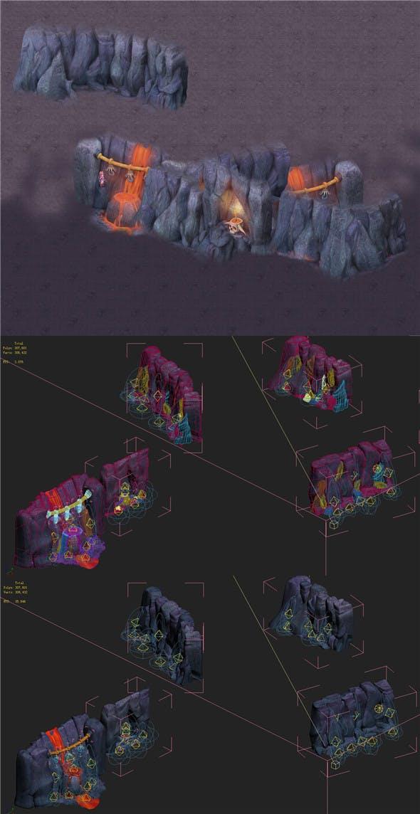 Cartoon hell - hell slander spring cliff - 3DOcean Item for Sale