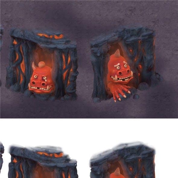 Cartoon hell - hide and seek the fool