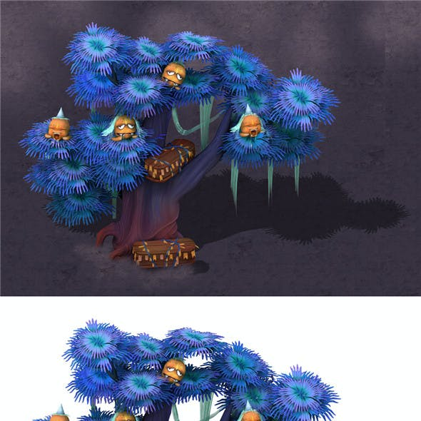 Cartoon hell - ghost coffin tree 02