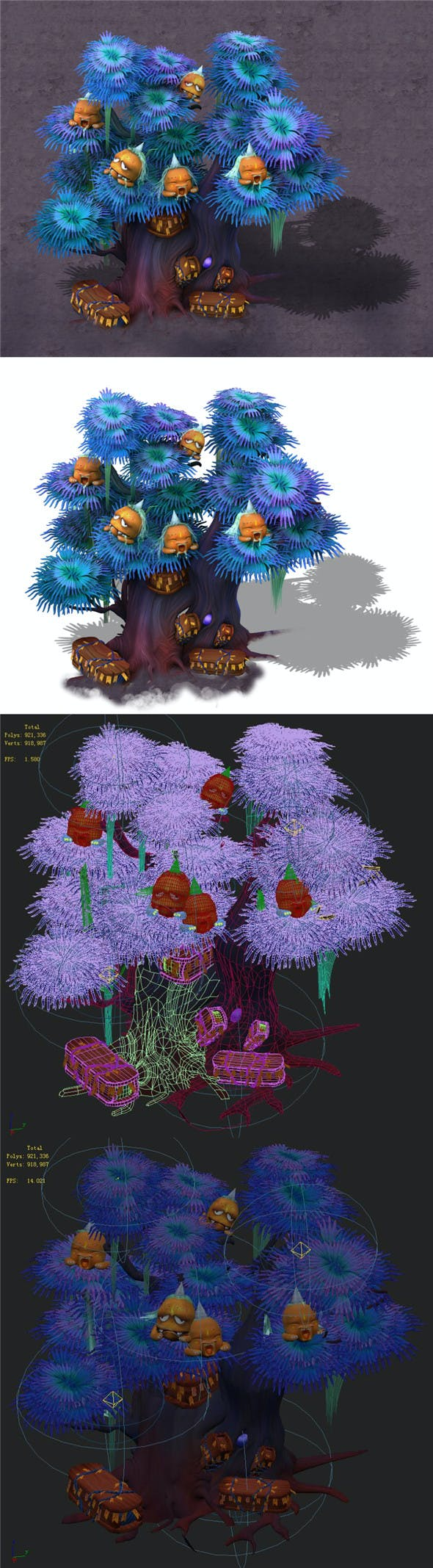 Cartoon hell - ghost coffin tree 04 - 3DOcean Item for Sale
