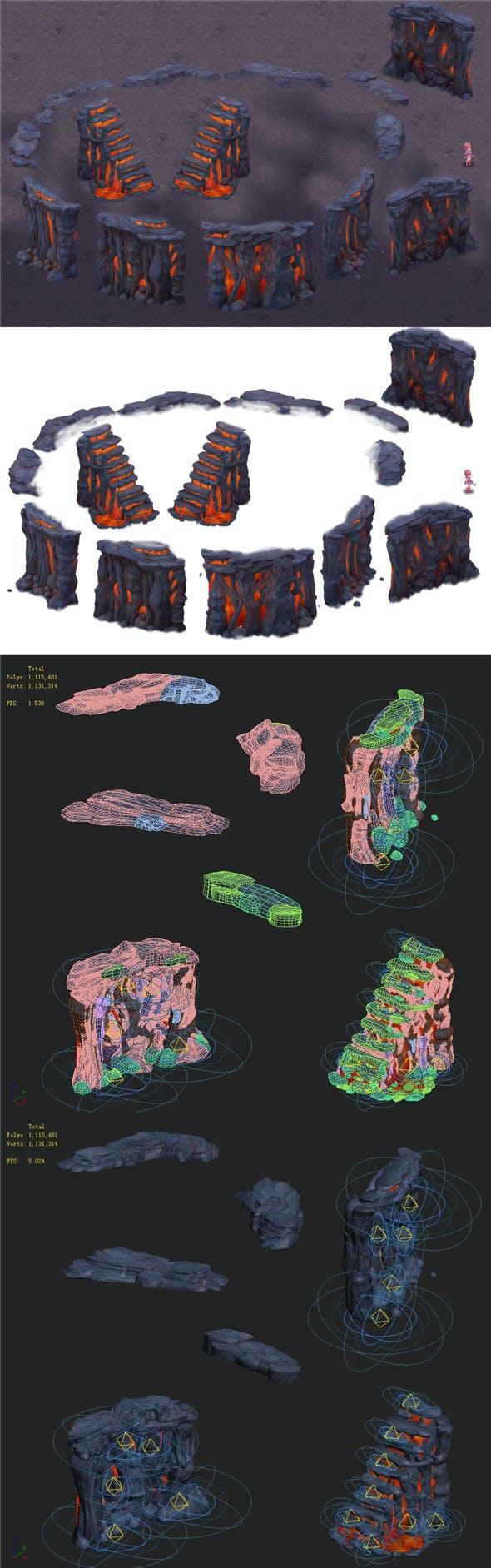 Cartoon hell - false terrain - hell lava pit - 3DOcean Item for Sale