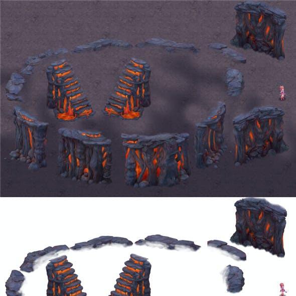 Cartoon hell - false terrain - hell lava pit