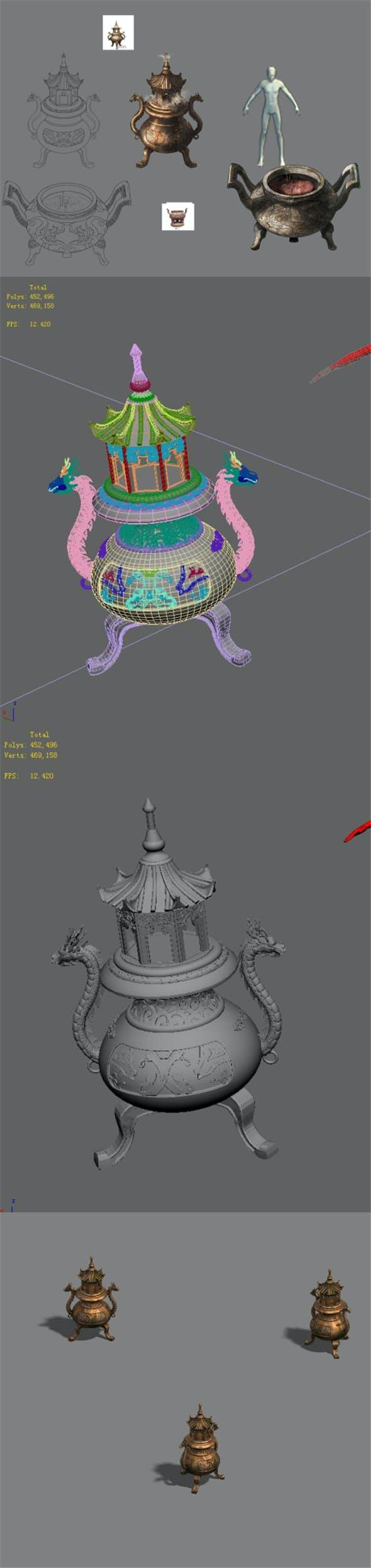 Incense burner 02 - 3DOcean Item for Sale