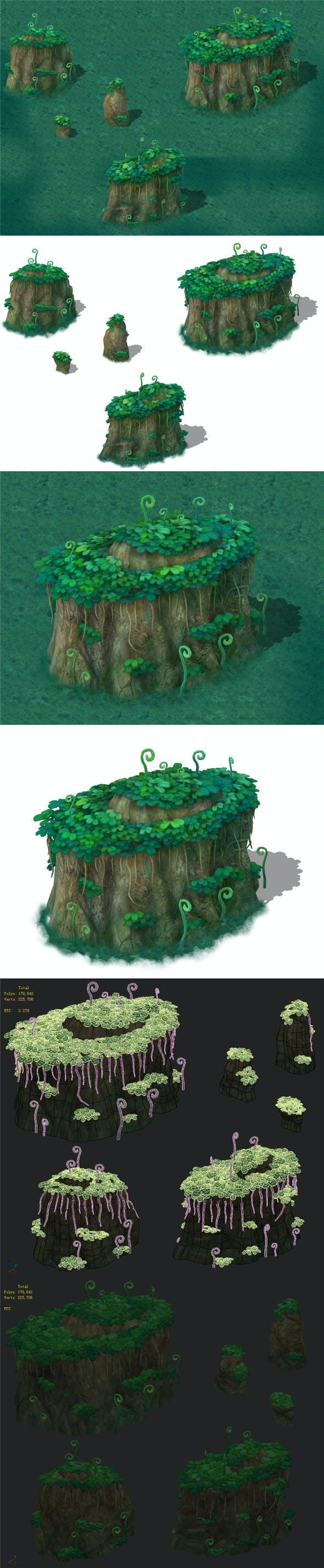 Cartoon version - spore forest terrain - 3DOcean Item for Sale