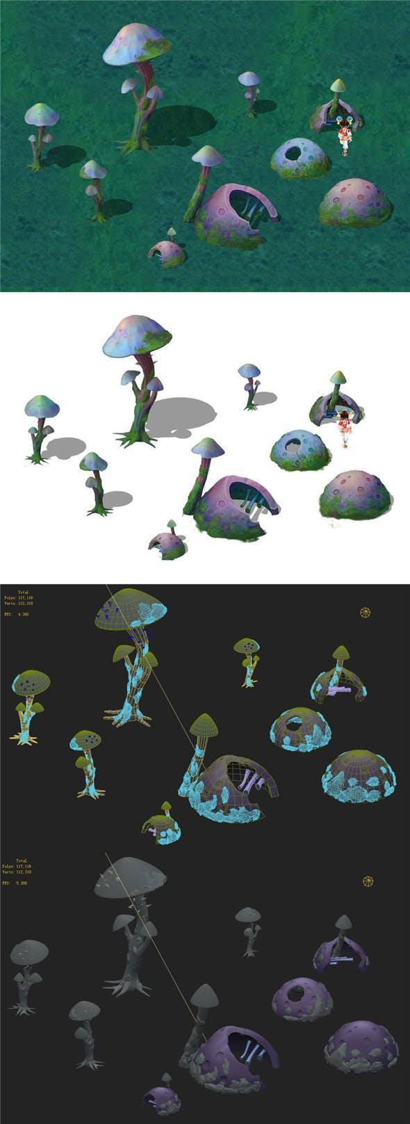 Cartoon version - fossil spores - 3DOcean Item for Sale