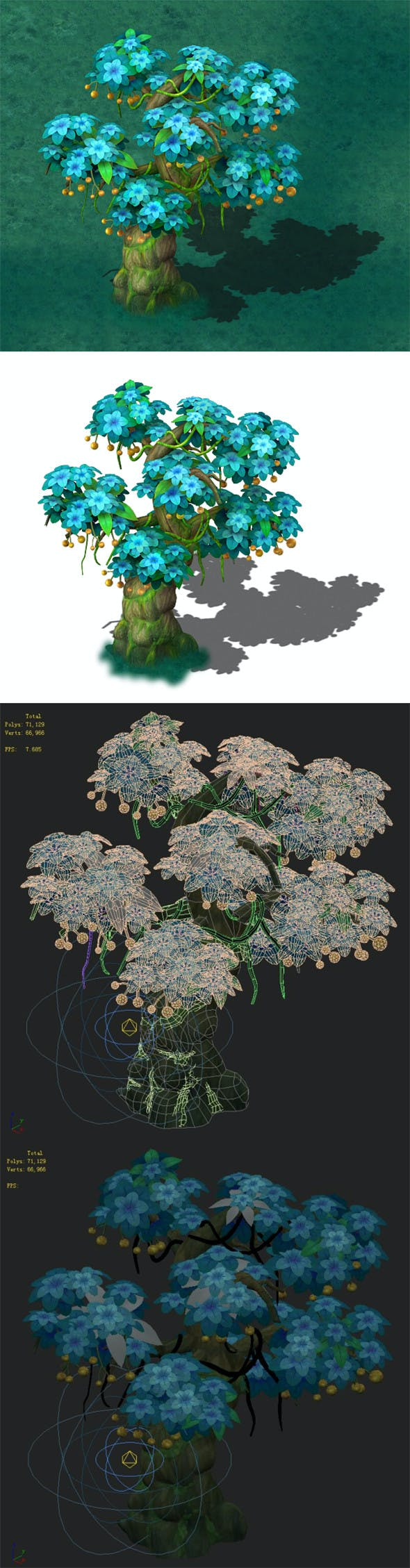 Cartoon version - wonderful fruit tree 01 - 3DOcean Item for Sale