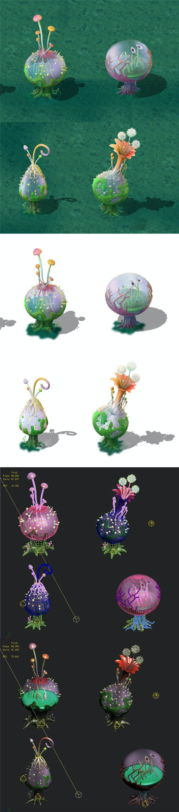 Cartoon version - hollow transparent spores - 3DOcean Item for Sale