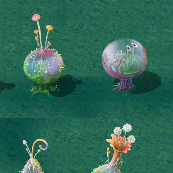 Cartoon version - hollow transparent spores